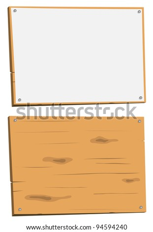 Blank Sign And Wood Sign/ Illustration of a cartoon wood sign, white and in raw wood - stock photo