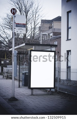 Blank sign at bus stop - stock photo