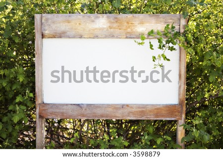 Blank Sign in a Garden/Forest Setting.  Put in your own Text.