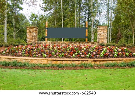 Blank Sign on a flowery terrace - stock photo
