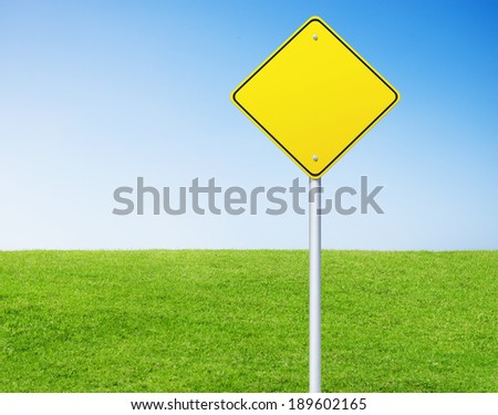 blank sign on with green grass background.