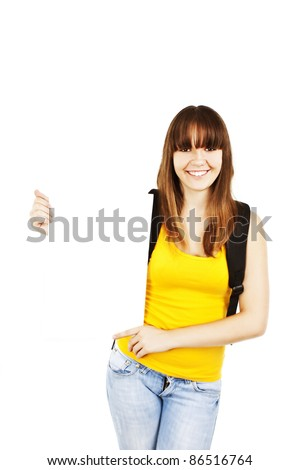Blank sign student. Female college / university student holding blank billboard sign - stock photo