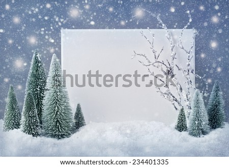Blank sign with christmas decorations and snow - stock photo