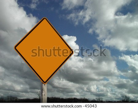 Blank sign with clouds - stock photo