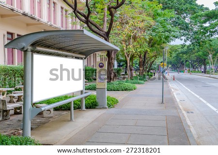 Blank signboard at bus stop for your advertisement or graphic design - stock photo