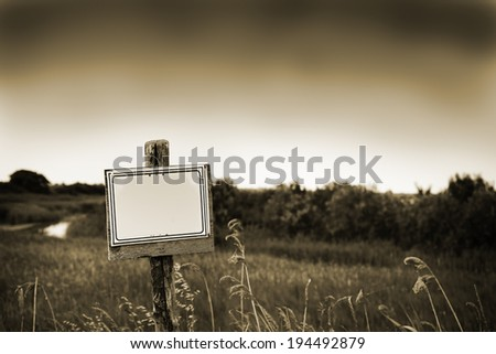 blank signpost in the nature countryside, can write what you want, custom