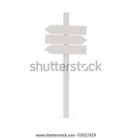 Blank signpost isolated on white - 3d illustration - stock photo