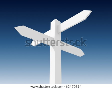 Blank signpost of road - stock photo