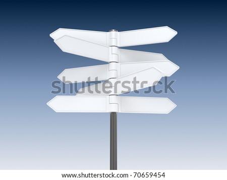 Blank signpost on blue sky background - stock photo