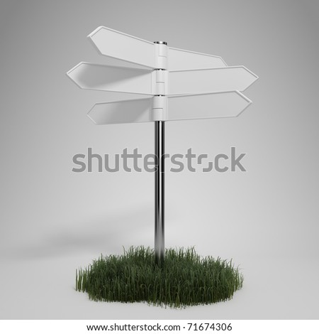 Blank signpost on gray background - stock photo