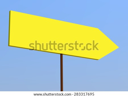 Blank signpost over blue sky. Yellow background - stock photo