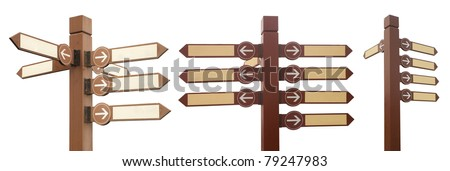 blank signpost with arrow,isolated on white - stock photo