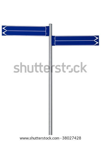 Blank signpost with four arrows isolated on white