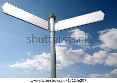 Blank signpost with seven arrows over blue sky - just add your text. Precise clipping path included for easy  change of text. - stock photo