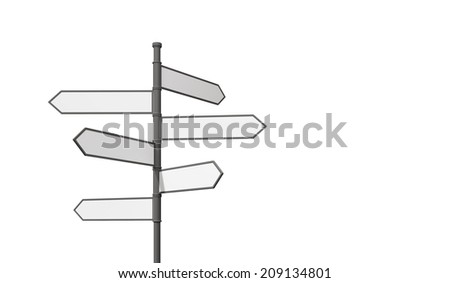 Blank signposts isolated on white background - stock photo