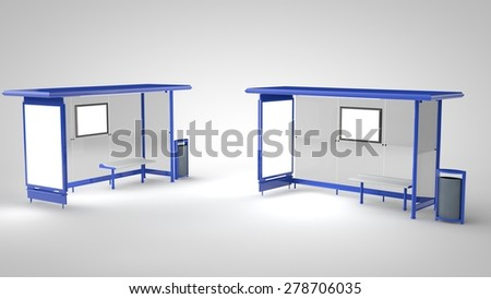 Blank signs at Bus Stops for your advertisement or graphic design - stock photo