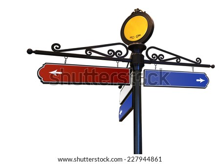 Blank signs pointing in opposite directions  representing a shopping direction sign, Photo isolated on white background. This has clipping path. - stock photo
