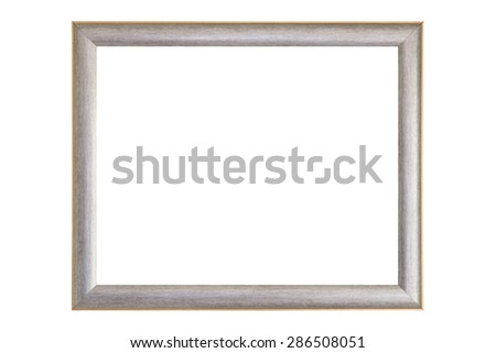 Blank silver and gold picture frame isolated on white background  - stock photo