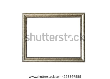 blank silver frame isolated on white - stock photo