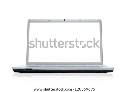 Blank silver laptop isolated on white background with clipping path for the screen - stock photo