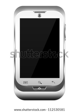 Blank Silver Metallic Mobile Phone, You Can Write Your Own Text Message on The Screen Isolated on White Background