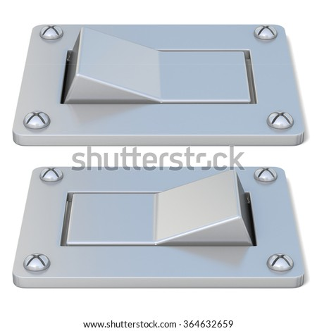Blank, silver, power switch button ON OFF. Front view. 3D render illustration isolated on white background - stock photo