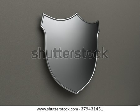 Blank Silver Shield - stock photo