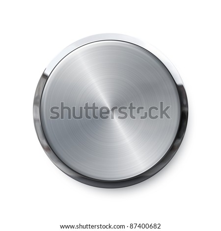 Blank silver shiny push button - stock photo