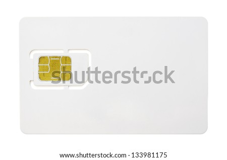 Blank sim card isolated on white background - stock photo