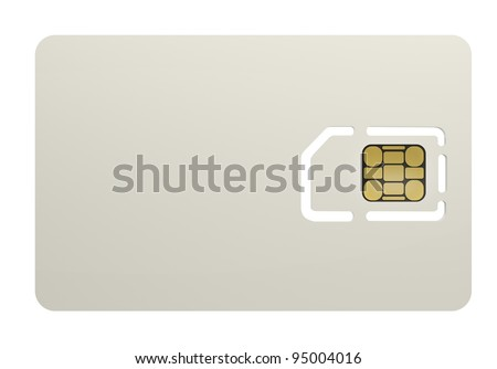 Blank sim card isolated on wihte  background High resolution 3D