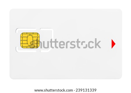 Blank Sim Card with chip on a white background