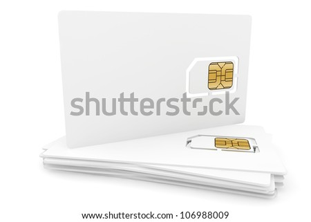 Blank sim cards on a white background - stock photo