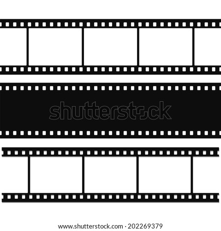 Blank simple film strip set - stock photo