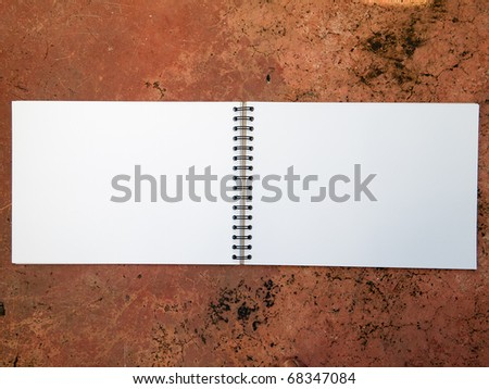 Blank Sketch Book open two face horizontal - stock photo