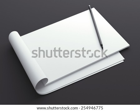 Blank sketchbook with pencil - stock photo