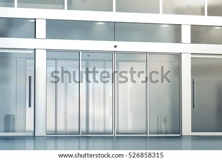 glass front door for business. blank sliding glass doors entrance mockup, 3d rendering. commercial automatic entry mock up. front door for business