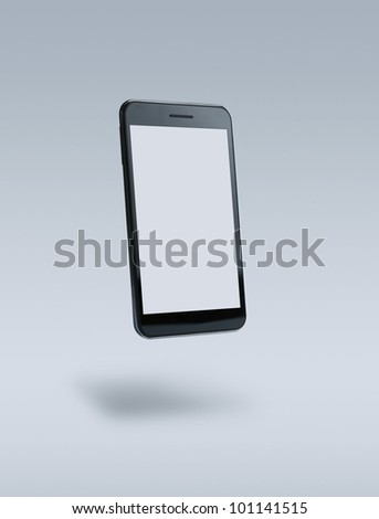 Blank smart phone over gray background with clipping paths for outline and screen - stock photo