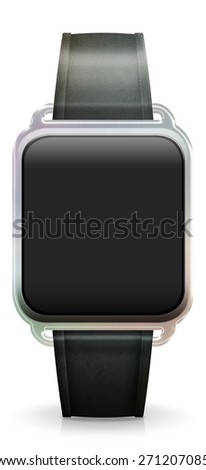 Blank Smart Watch with black leather Strap - stock photo