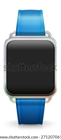 Blank Smart Watch with rubber / plastic blue Strap - stock photo