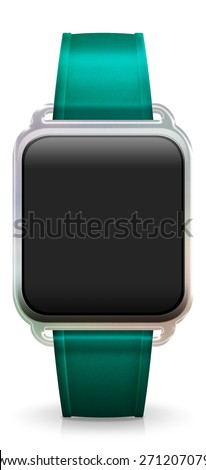 Blank Smart Watch with rubber / plastic turquoise Strap - stock photo