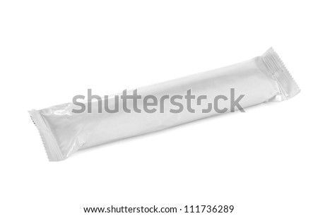 blank snack bar package isolated over white background - stock photo