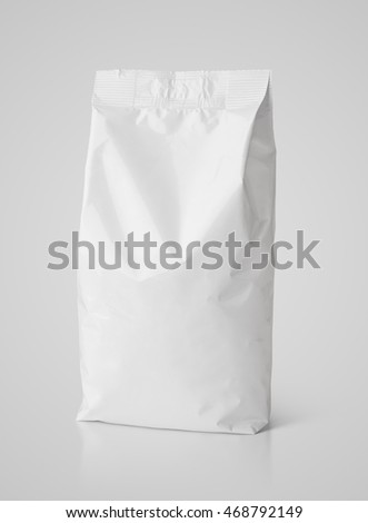 Blank snack white paper bag package on gray with clipping path