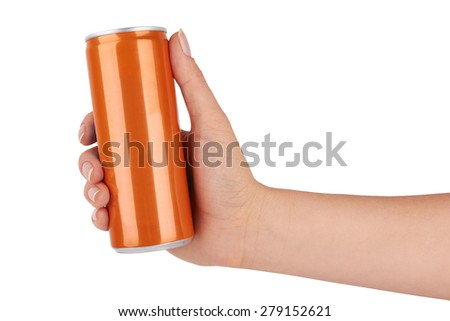 blank soda can isolated on a white background  - stock photo