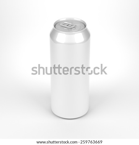 Blank soda or beer metal can front top view - stock photo