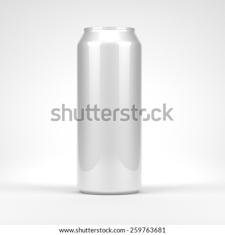 Blank soda or beer metal can front view