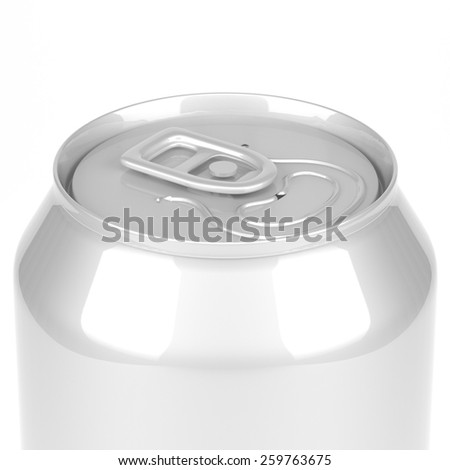 Blank soda or beer metal can top view close up - stock photo