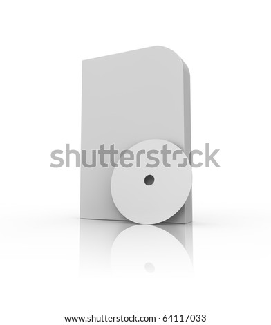 Blank software box and compact disk on white