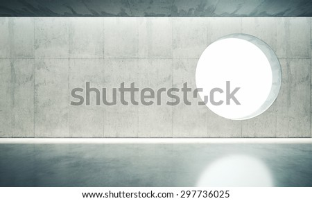 Blank space interior wall with one window. 3d render - stock photo