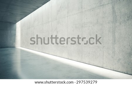 Blank space interior wall with white lights . 3d render - stock photo