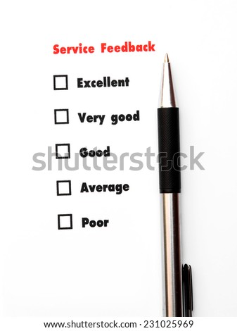 blank space Tick placed excellent,very good,good,average,poor - stock photo